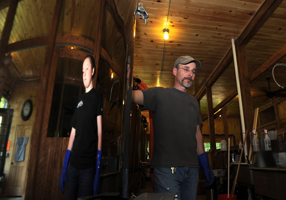 Owner Jeff Powers at Bigelow Brewing in Skowhegan, which is expanding after a year of operations.