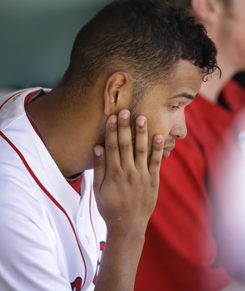 Eduardo Rodriguez had his first poor start since his promotion to Boston and was hurt by bad defense.