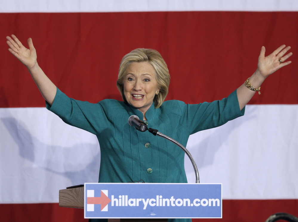 Presidential candidate Hillary Rodham Clinton speaks at a rally on Sunday in Iowa. She is trying to build a strong organization in the state that tripped up her first campaign.