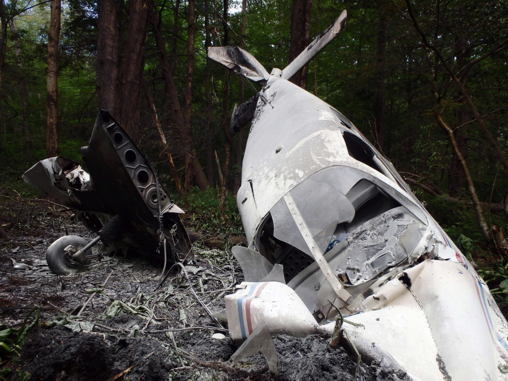 Photo courtesy of North Hampton, N.H., Police Department A small plane piloted by Ronald L. Gagnon of Biddeford crashed in the woods in North Hampton, N.H., on Sunday.