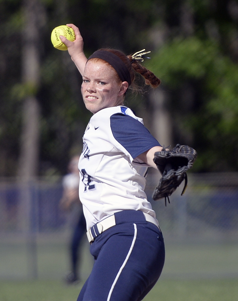 Yarmouth's Mari Cooper pitches against Leavitt on Thursday. Shawn Patrick Ouellette/Staff Photographer