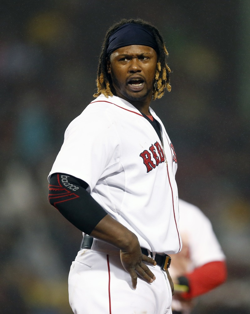 The Red Sox's Hanley Ramirez reacts after grounding into a fielder's choice to end the sixth inning of Monday's night's 4-2 loss to the Atlanta Braves.
