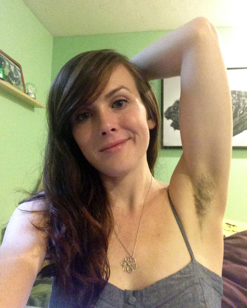 "Katherine Anne True shows off her unshorn armpits at her home in Raynham, Mass. ""I started it a few months ago before I knew it was a trend,"" said True, 30."