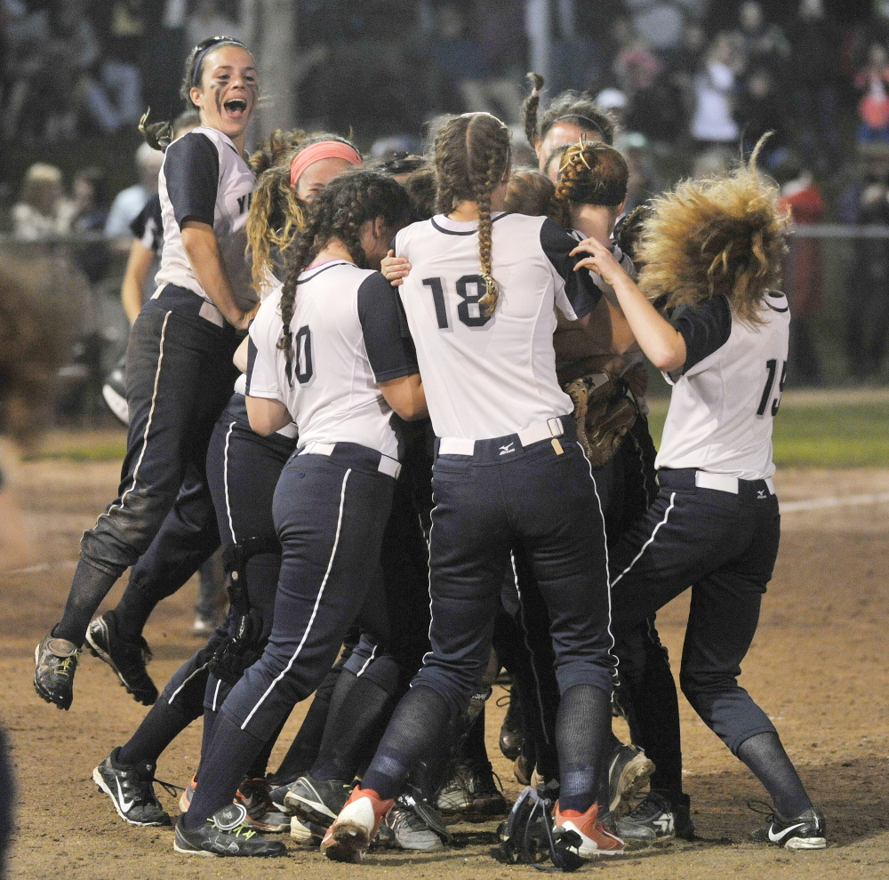 It's time to celebrate for Yarmouth, which shut out Fryeburg 1-0 Tuesday for the Western Class B softball title. The Clippers will play Hermon Saturday for the state title.