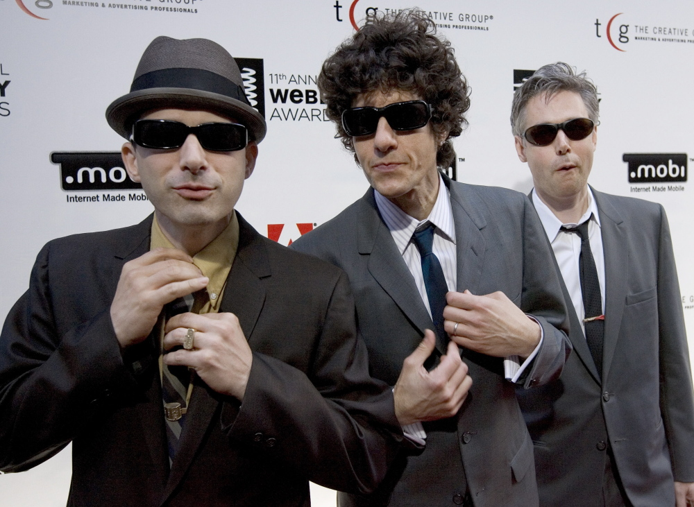 "The Beastie Boys, from left to right, Adam ""Ad-Rock"" Horovitz, Michael ""Mike D"" Diamond, and Adam ""MCA"" Yauch, arrive to pick up a 2007 Webby Award in New York."