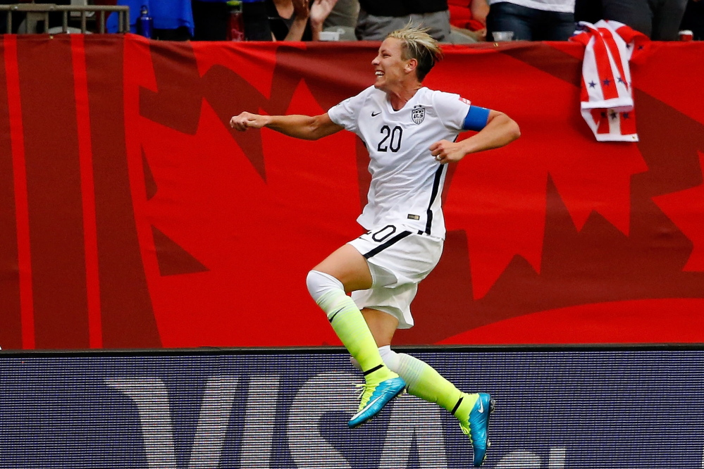 U.S. forward Abby Wambach celebrates her goal against Nigeria late in the first half of Tuesday's Women's World Cup match. The goal proved to be a game winner.