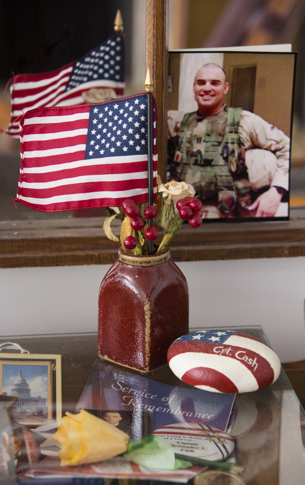 Nancy Lee Kelley's home in Old Orchard Beach contains this memorial for her son, Capt. Christopher Cash, who was 36 when he was killed in action in 2004 while serving in Iraq.