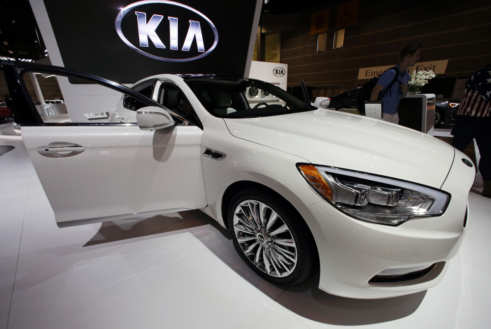 The Kia 2015 K900, V8, is on display at the Chicago Auto Show. Kia vaulted five spots to take second place on J.D. Power's annual survey of new vehicle quality, released Wednesday.
