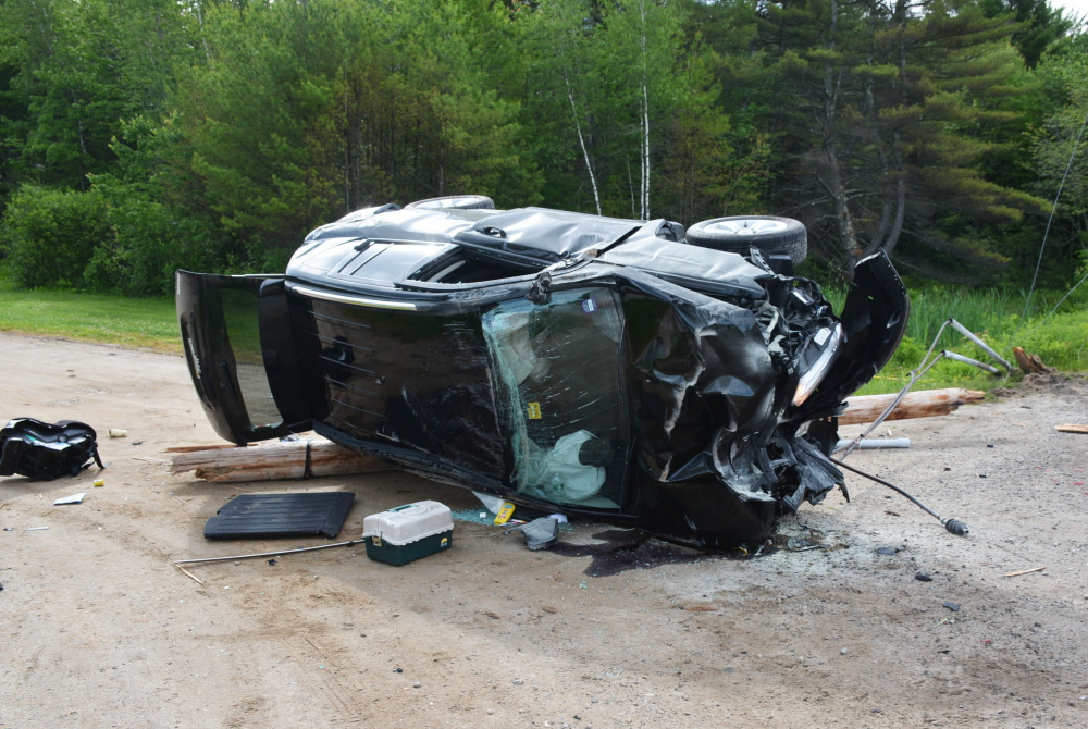Courtesy Cumberland County Sheriff's Office Three people, including a 3-year-old who was flown to Maine Medical Center, were injured in this single-vehicle crash in Casco on Thursday.