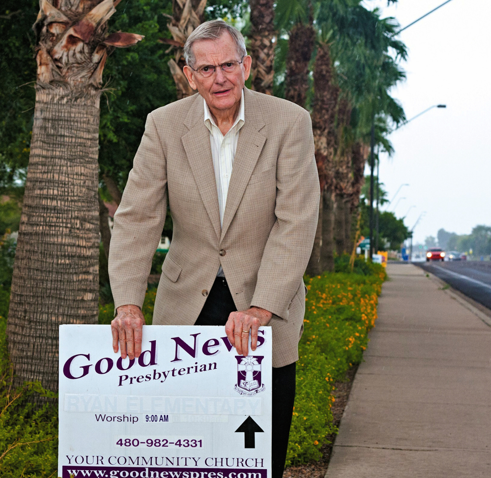 Pastor Clyde Reed of Good News Presbyterian Church in Gilbert, Ariz., no longer has to meet tougher rules for signs than do political candidates and real estate agents.