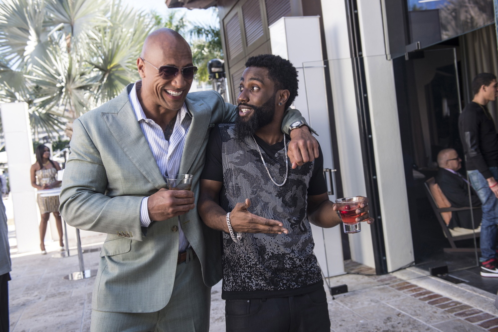 """Dwayne Johnson, left, and John David Washington in a scene from Episode 3 of """"Ballers,"""" which premieres Sunday."""