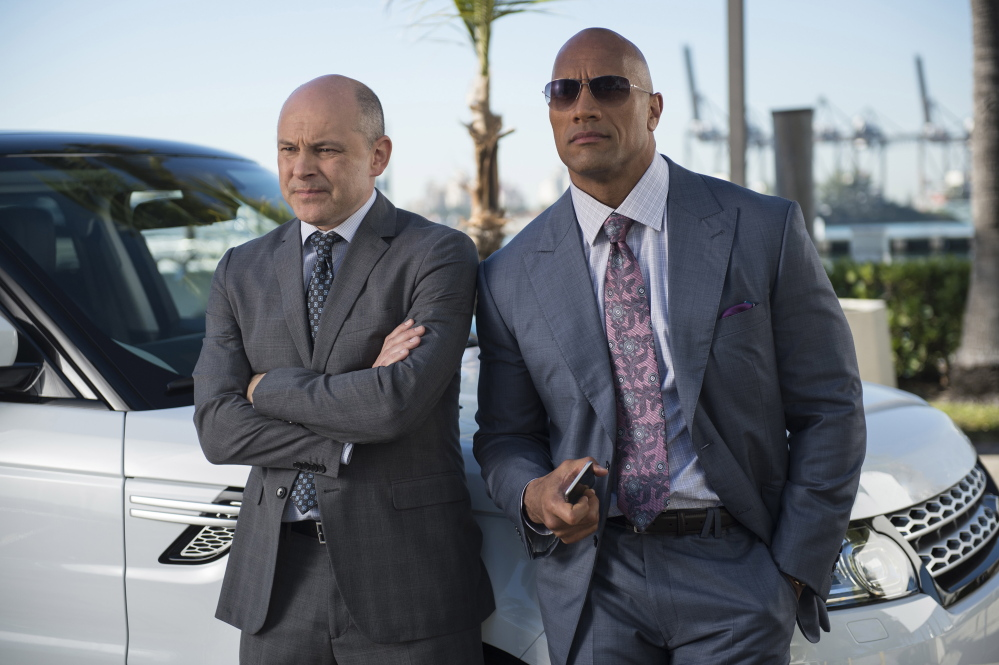 """Dwayne Johnson, right, and Rob Corddry in Episode 3 of """"Ballers."""" (Jeff Daly/HBO/TNS)"""