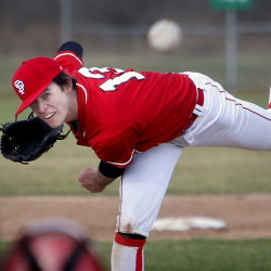 SOUTH PORTLAND, ME - APRIL 24: Thornton Academy vs South Porland baseball.  Henry Curran of South Portland delivers a pitch during the second inning. (Photo by