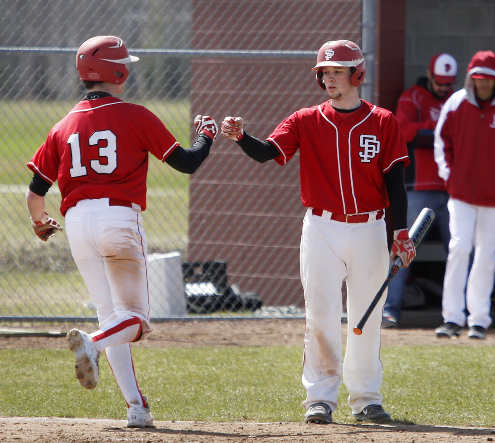 Nick Troiano, right, and Henry Curran are among the leaders for a South Portland team seeking its first baseball state championship since 1950.