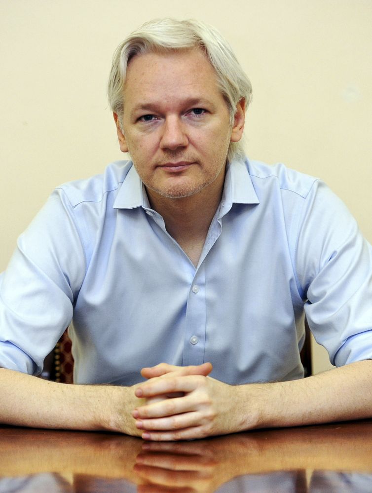 WikiLeaks founder Julian Assange in the Ecuadorian Embassy in London. WikiLeaks said the release of Saudi diplomatic documents coincided with the three-year anniversary of Assange seeking asylum in the embassy.