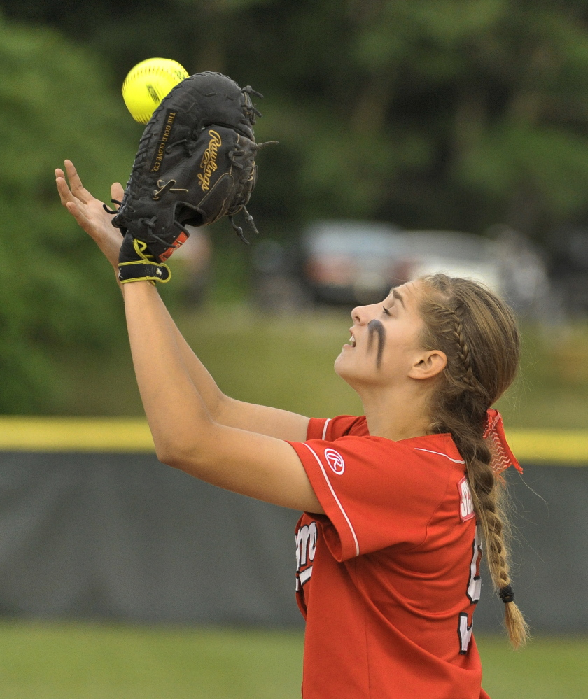 Kaleigh Scoville has shown her talent in games this season for Scarborough, but it's been her work in practice that has made her so good in her first season at first base.