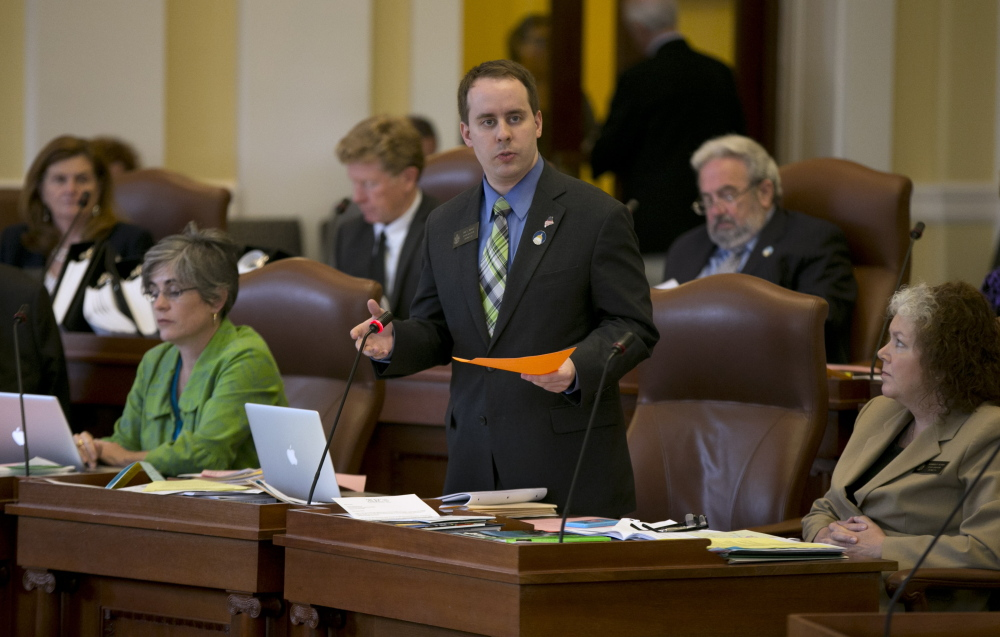 Sen. Eric Brakey, R-Androscoggin County, discusses legislation at the State House Tuesday.