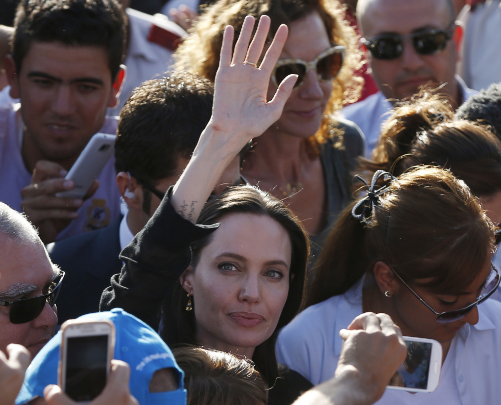 Angelina Jolie, special envoy of the United Nations high commissioner for refugees, arrives for a visit at the Midyat refugee camp in Mardin, Turkey, near the Syrian border, on Saturday.