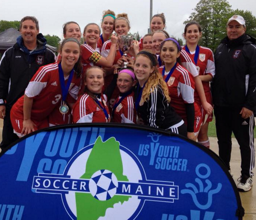 The Velocity Premier Soccer Club U17 girls won the Maine State Cup, beating Central Maine United in the final two games of a best-of-three series. Velocity qualified for the U.S. Youth Soccer Region I Championships, which start Friday in Barboursville, West Virginia. Team members, from left to right: Front row – Hannah Trudelle, Kyla Bragg, Hailey Tarr, AnnaMarie Seiler, Shabnam Yaz; Back row – Assistant coach Peter Pike, Taylor Mallett, Shaylee Ashburn, Madi Freeman, Cassidy Cochrane, Deliah Schreiber, Anna Giroux, Skye Murray, Sophia Pike and head coach Rob Rodriguez. Missing – Gabby Hanson and Faith Sinclair.
