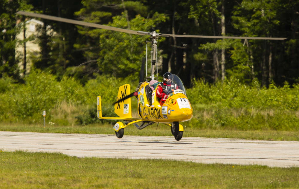 Norman Surplus, 52 of Northern Ireland, gets ready to land his one-man experimental aircraft at Biddeford Municipal Airport.
