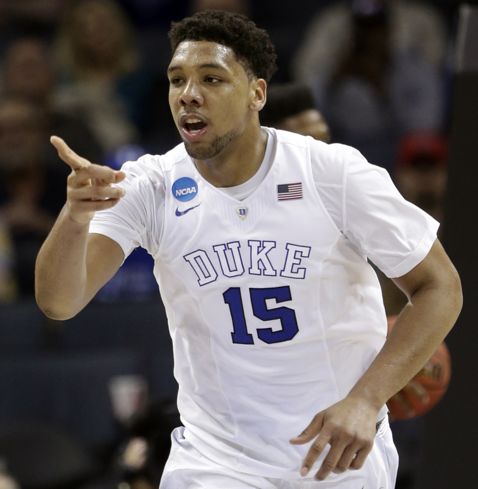 "Duke's Jahlil Okafor may be the second pick in the draft and go to the Lakers. ""Two is not bad, being in Los Angeles,"" Okafor said."