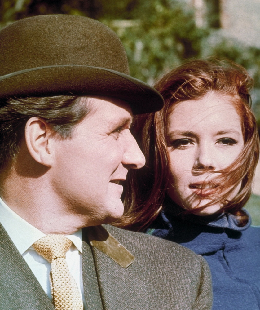 "Patrick Macnee and Diana Rigg appear as British secret agents John Steed and Emma Peel in a scene from ""The Avengers."" Macnee's movie work includes a memorable comic turn in ""This is Spinal Tap."""