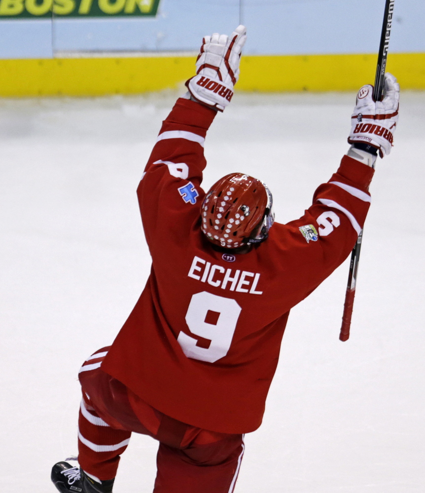 Boston University's Jack Eichel is expected to be drafted second overall by the Buffalo Sabres on Friday in the NHL draft. The 18-year-old won the Hobey Baker Award as a freshman last season.