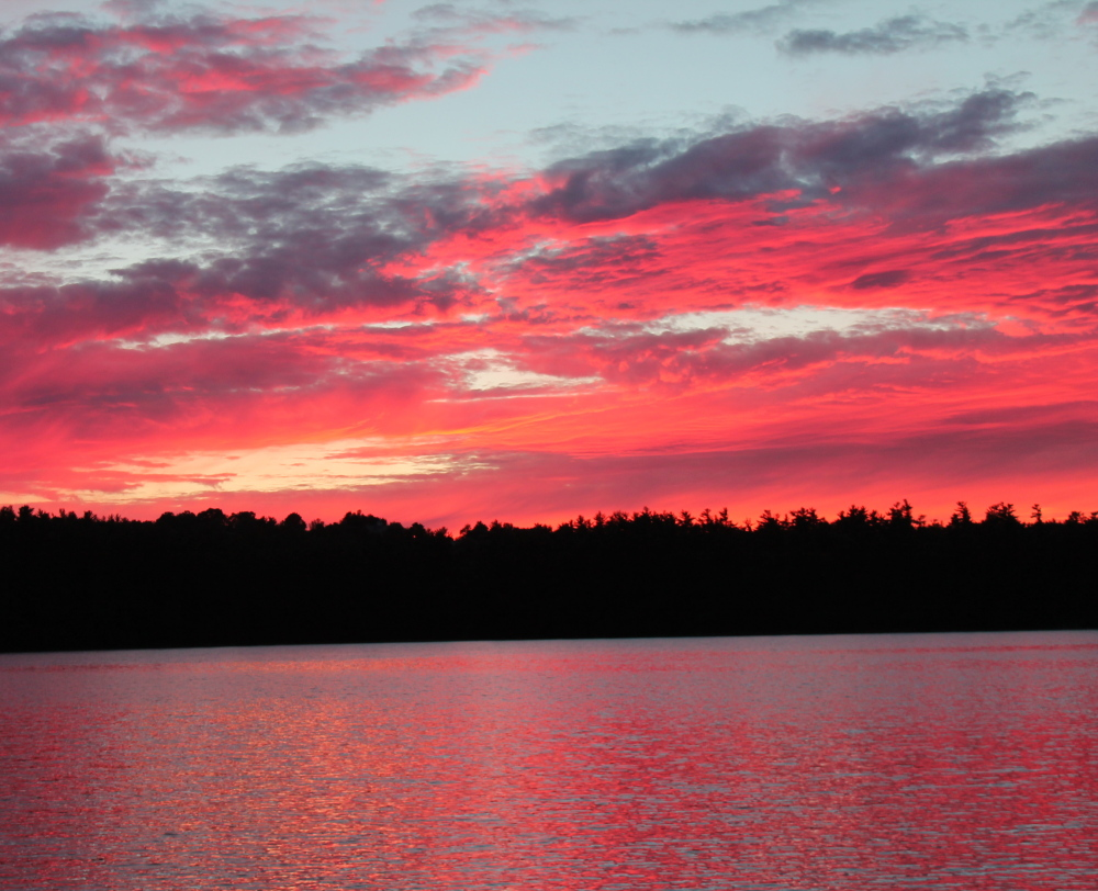 Red sky at night, sailor's delight? Well the heavens were crimson Thursday evening at Sabbathday Lake, as witnessed by New Gloucester's Diantha Grant. And Friday was delightful.