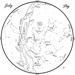 SKY GUIDE: This chart represents the sky as it appears over Maine during July. The stars are shown as they appear at 10:30 p.m. early in the month, at 9:30 p.m. at midmonth and at 8:30 p.m. at month's end. Saturn, Venus and Jupiter are shown in their midmonth positions. To use the map, hold it vertically and turn it so the direction you are facing is at the bottom.