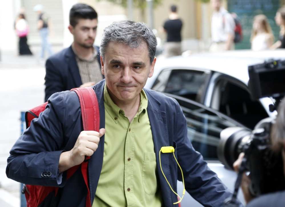 Greece's Deputy Foreign Minister for international economic relations, Euclid Tsakalotos, arrives at the Finance Ministry in Athens, on Sunday.