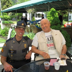 Scarborough Police Sgt. John O'Malley with Scarborough Terrace resident Roger Ciufo at the assisted living community's lunch for first responders.