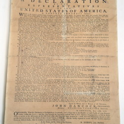 Hallowell's 1776 copy of the Declaration of Independence at the Maine State Museum in Augusta.