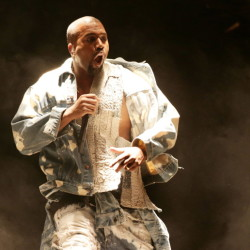 "Kanye West performs at Britain's Glastonbury Festival and declares himself ""the greatest living rock star on the planet."""