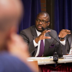 School superintendent Emmanuel Caulk, left, is leaving after two years – one reader thinks a more local hire would ensure continuity. 2012 Press Herald File Photo/Carl d. Walsh