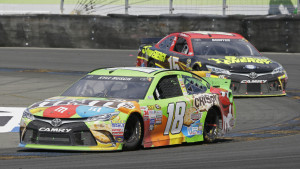 Kyle Busch leads Clint Bowyer through a turn during Sunday's Sprint Cup race on the road course at Sonoma Raceway in California. Busch, who missed the first 11 races of the season because of a broken leg, earned his first victory since March.