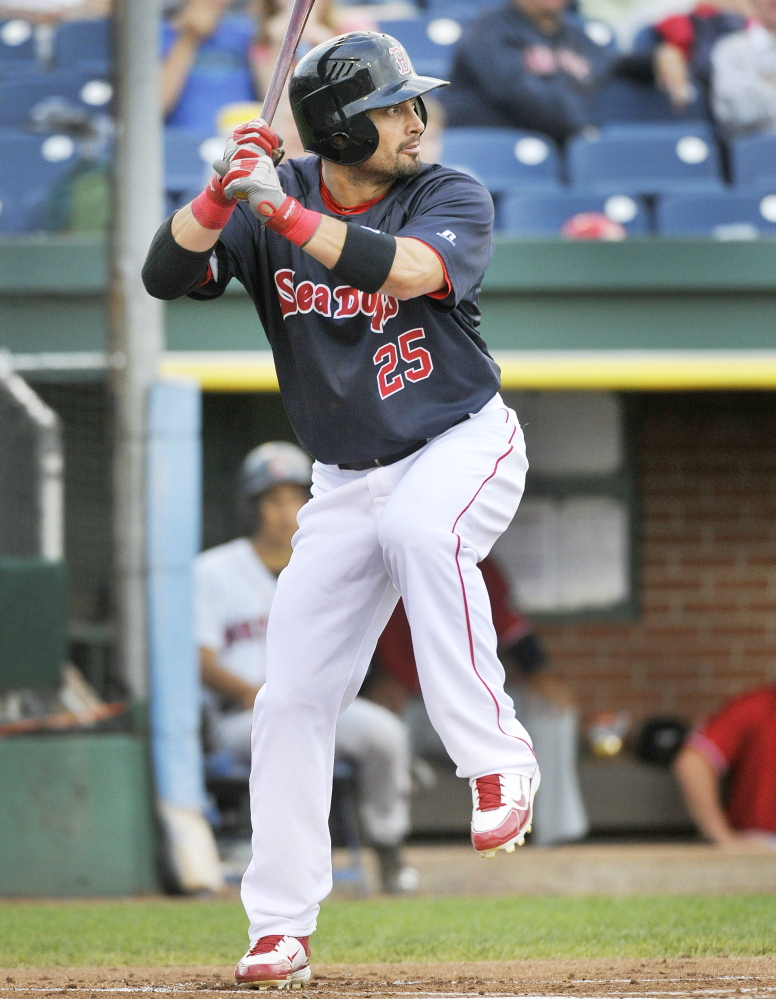 Red Sox outfielder Shane Victorino was 1 for 3 for the Sea Dogs in his second rehab stint with Portland this season. He scored a run on Tuesday night, scoring from second on a sacrifice fly.