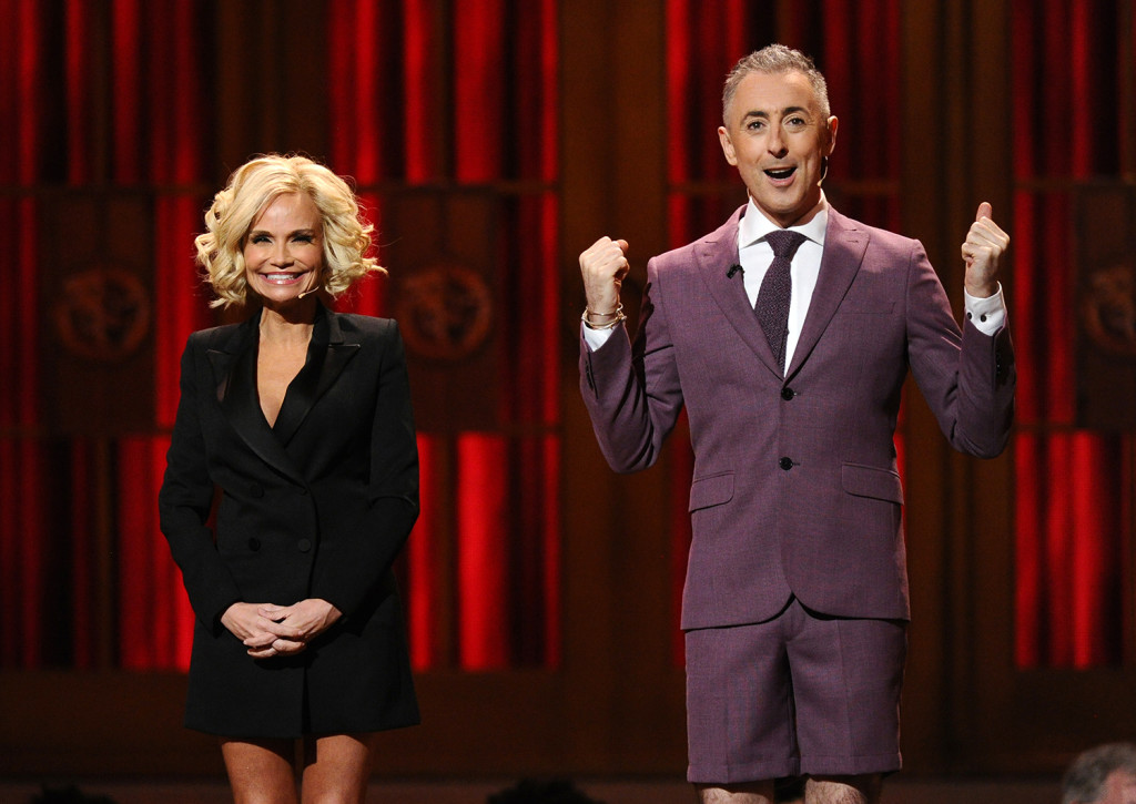 Kristin Chenoweth, left, and Alan Cumming perform a medley at the 69th annual Tony Awards at Radio City Music Hall on Sunday in New York. The Associated Press