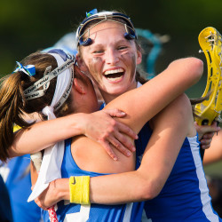 Kennebunk's Kyra Schwartzman and Jenny Bush celebrate after beating Falmouth, 9-7, to win the Western Maine Class B championship in Falmouth on Wednesday. Carl D. Walsh/Staff Photographer