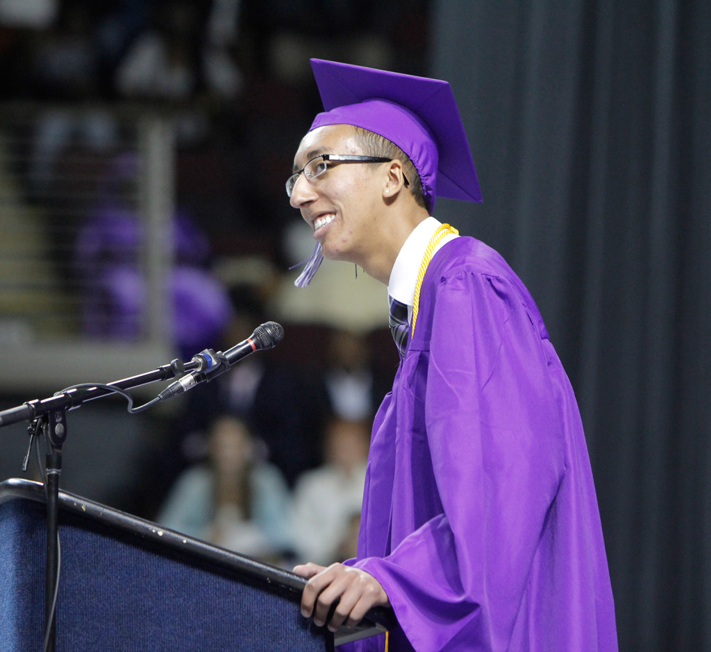 Salutatorian Christopher Richardson addresses students during Deering High School's graduation at the Cross Insurance Arena in Portland on Wednesday.