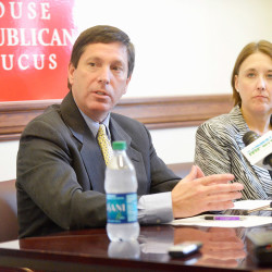 House Republican leader Ken Fredette of Newport, along with Assistant Republican leader Ellie Espling of New Gloucester, voice their objections Monday to a budget deal between the Senate leadership and House Democratic leaders. House Republicans object to the proposed budget's lack of income tax cuts or welfare reforms sought by Gov. Paul LePage.