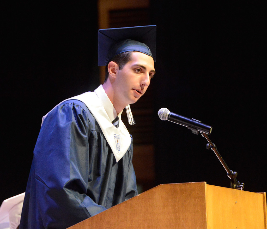 Senior class president Aren Gregory Kiladjian delivers the keynote address as Portland High School holds its 194th graduation exercises at Merrill Auditorium in Portland on Thursday.