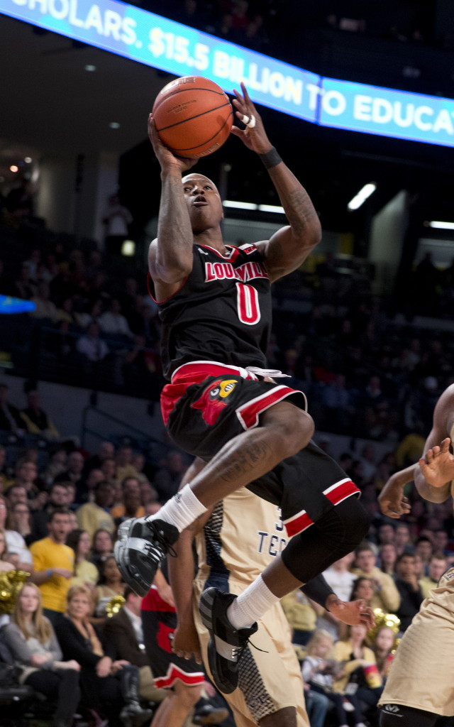 Terry Rozier of Louisville said after being drafted Thursday night that he looks forward to being with the Boston Celtics and isn't concerned by the competition at guard, but only by what he has to do to see playing time.  2015 File Photo/The Associated Press