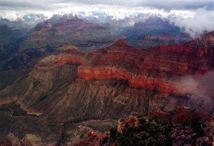 The Kaibab Trail, running right to left in the center, at the Grand Canyon National Park is shown on Jan. 20, 2001.  The Associated Press