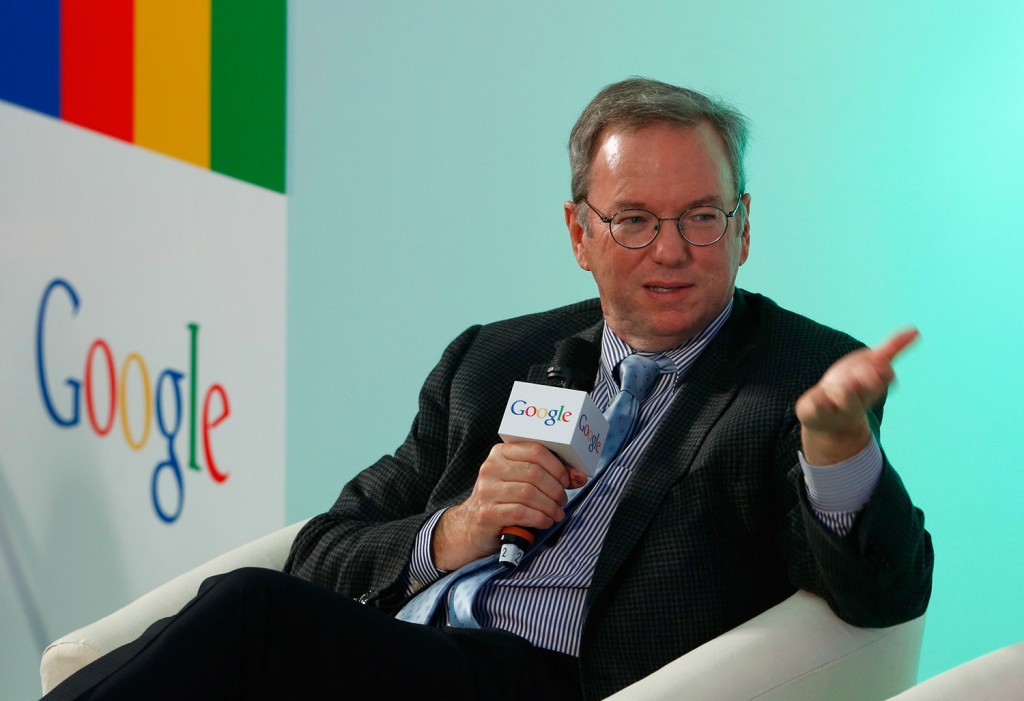 Eric Schmidt, Executive Chairman of Google, speaks during a session with students at the Chinese University of Hong Kong, in Hong Kong, Monday, Nov. 4, 2013.  Google announced Monday that it will partner with the university on a program to encourage the innovation and the entrepreneurship.(AP Photo/Vincent Yu)