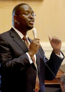In this 2014 photo, state Sen. Clementa Pinckney speaks at the South Carolina Statehouse. Pinckney was killed, Wednesday in a shooting at a historic black church in Charleston, S.C. Grace Beahm/The Post and Courier via AP