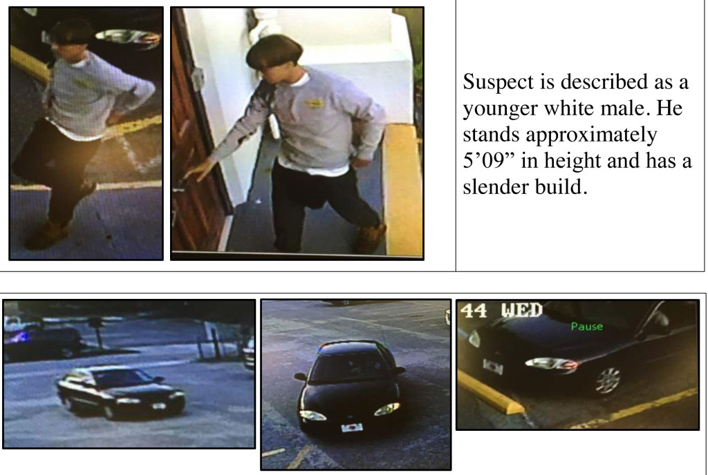 During the manhunt Thursday morning, Charleston Police Department released these surveillance images of the shooting suspect and the vehicle he was driving.
