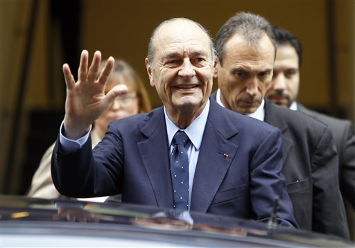 Former President Jacques Chirac is among three French presidents that WikiLeaks documents appear to show were spied upon by the U.S. National Security Agency. The other two are Francois Hollande and Nicolas Sarkozy and Chirac. 2011 AP file photo