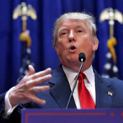 """""""I will be the greatest jobs president that God ever created,"""" Donald Trump said in announcing his candidacy for president Tuesday in the lobby of Trump Tower in New York."""