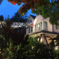 Firefighters quickly extinguished an early morning fire that damaged a rundown antique Victorian home at 119 Pepperrell Road in Kittery Monday. Photo courtesy of Nicholas Hilton