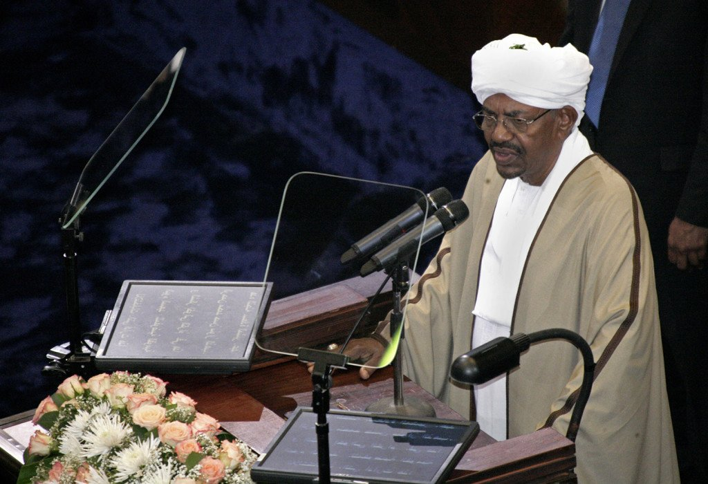 Incumbent President Omar al-Bashir, who was recently re-elected in a landslide that extended his 25-year-old rule, speaks after being sworn in at the Sudanese National Assembly in Khartoum, Sudan, Tuesday, June 2. The Associated Press